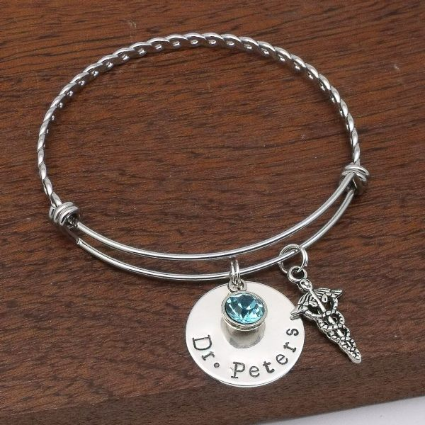 Doctor gift personalised caduceus bracelet jewellery birthstone